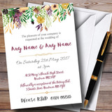 Autumn Plum Watercolour Floral Header Customised Wedding Invitations