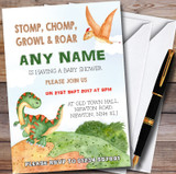 Watercolour Dinosaur Customised Baby Shower Invitations