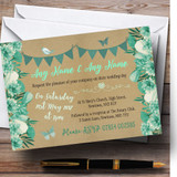 Teal & Mint Green Rustic Bunting & Floral Customised Wedding Invitations