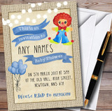 Blue Boys Clown Customised Baby Shower Invitations