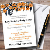 Watercolour Black & Orange Floral Header Customised Wedding Invitations