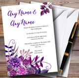 Cadbury Purple Watercolour Florals Customised Wedding Invitations
