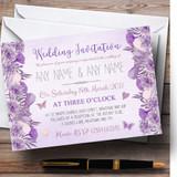 Cadbury Purple & Lilac Vintage Watercolour Floral Customised Invitations