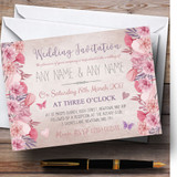 Blush Dusty Pink & Lilac Vintage Watercolour Floral Customised Invitations