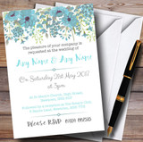 Watercolour Floral Blue Customised Wedding Invitations