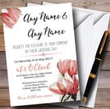 Watercolour Coral Magnolias Customised Wedding Invitations