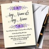 Watercolour Purple Floral Rustic Customised Wedding Invitations