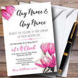 Watercolour Pink Magnolias Customised Wedding Invitations