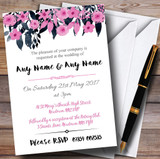 Watercolour Black & Dusty Pink Floral Header Customised Wedding Invitations