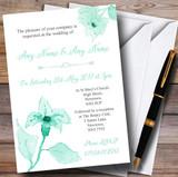 Beautiful Aqua Mint Green Watercolour Flowers Customised Wedding Invitations