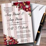 Red Rose & Stripes Vintage Customised Wedding Invitations