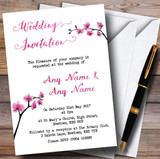 Pink Cherry Blossom Watercolour Customised Wedding Invitations