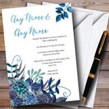 Aqua Green & Blue Watercolour Florals Customised Wedding Invitations
