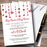 Red Watercolour Heart Drop Customised Wedding Invitations