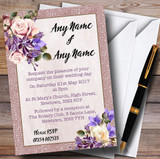 Pale Coral Pink & Lilac Watercolour Rose Customised Wedding Invitations