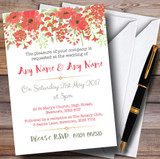 Watercolour Floral Coral Pink Customised Wedding Invitations