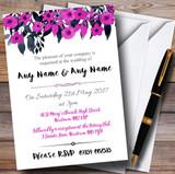 Watercolour Black & Hot Pink Floral Header Customised Wedding Invitations