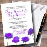 Stunning Watercolour Poppies Purple Customised Wedding Invitations