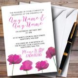 Stunning Watercolour Poppies Pink Customised Wedding Invitations
