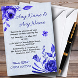 Pale Blue & White Watercolour Floral Customised Wedding Invitations