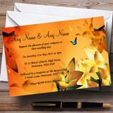 Orange Lily Flower Customised Wedding Invitations