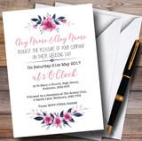 Navy Blue & Pink Subtle Floral Customised Wedding Invitations