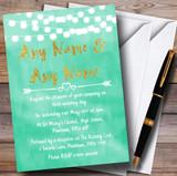 Mint Green & Gold Lights Watercolour Customised Wedding Invitations