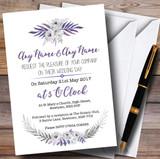 Purple & Silver Subtle Floral Customised Wedding Invitations