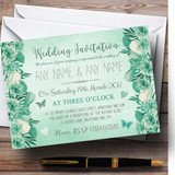 Pale Teal Mint Green Vintage Watercolour Floral Customised Wedding Invitations