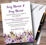 Lilac & Purple Peonies Customised Wedding Invitations