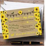 Rustic Sunflowers Vintage Customised Wedding Invitations