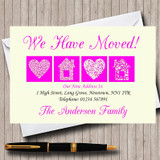 Pale Yellow And Magenta New Home Change Of Address Moving House Cards