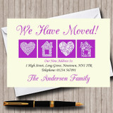 Pale Yellow And Purple New Home Change Of Address Moving House Cards