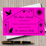 Pink Design New Home Change Of Address Moving House Cards