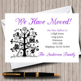 Purple White And Black New Home Change Of Address Moving House Cards