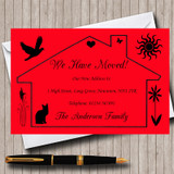 Red Design New Home Change Of Address Moving House Cards