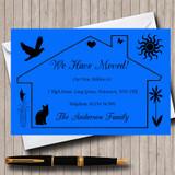 Dark Blue Design New Home Change Of Address Moving House Cards