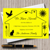 Yellow Design New Home Change Of Address Moving House Cards