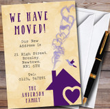 Yellow & Purple Heart House New Home Change Of Address Moving House Cards