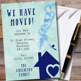 Green & Blue Heart House New Home Change Of Address Moving House Cards