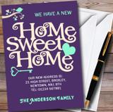 Purple & Aqua Sweet Home New Home Change Of Address Moving House Cards