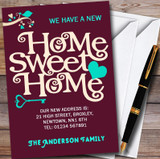 Wine Red Home Sweet Home New Home Change Of Address Moving House Cards