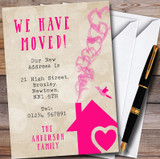 Hot Pink Heart House New Home Change Of Address Moving House Cards