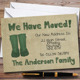 Rustic Welly Boot New Home Change Of Address Moving House Cards