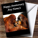Orangutans Kissing Customised Anniversary Card