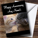 Cute Kissing Cats Customised Anniversary Card