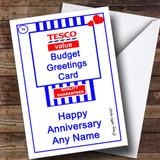 Funny Joke Tesco Value Spoof Customised Anniversary Card