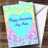White Love Heart Scribbles Customised Anniversary Card