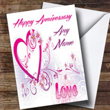 White And Pink Love Customised Anniversary Card