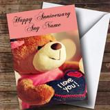 I Love You Teddy Customised Anniversary Card
